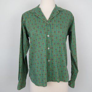 Vintage 60s Green Tiny Floral Button Down Shirt